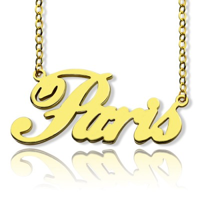 Paris Hilton Style Name Necklace 18CT Solid Gold