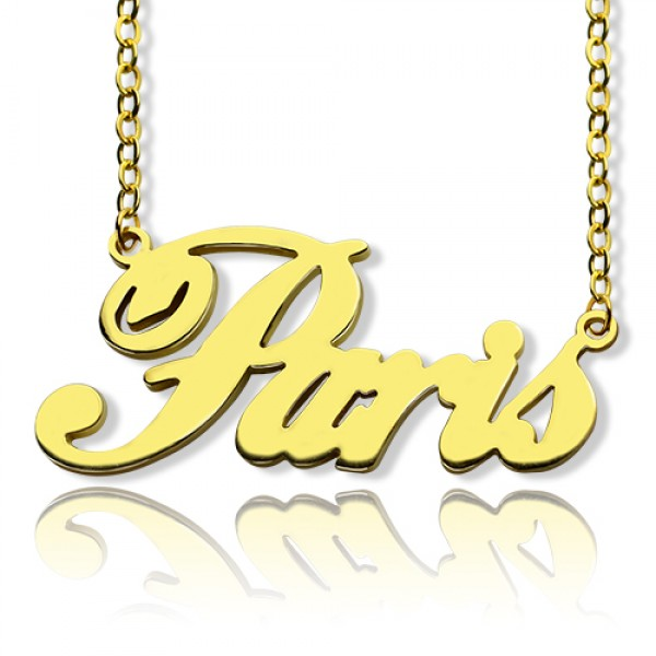 Paris Hilton Style Name Necklace 18CT Solid Gold