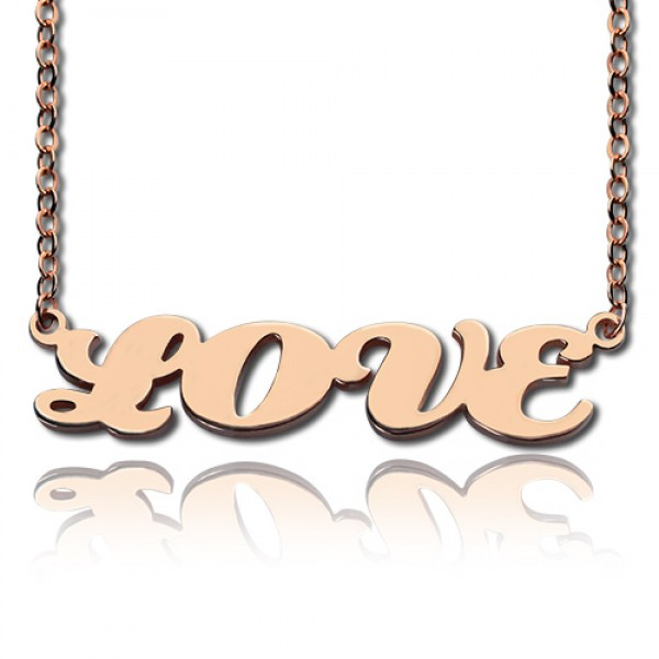 18CT Rose Gold Capital Puff Font Name Necklace