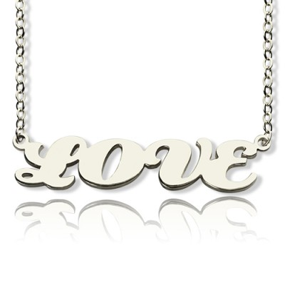 Solid White Gold Capital Name Plate Necklace