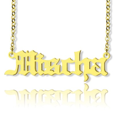 Mischa Barton Old English Font Name Necklace - 18CT Gold