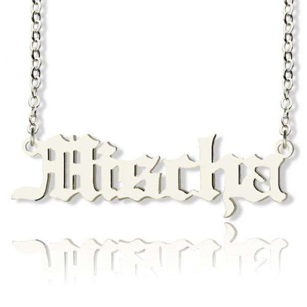 Mischa Barton Style Old English Font Name Necklace 18CT White Gold