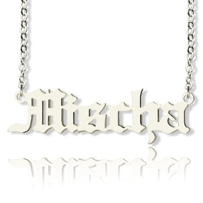 Solid Gold Old English Name Necklace