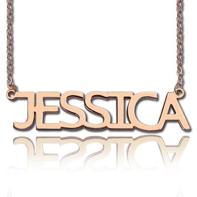 Solid Rose Gold Jessica Style Name Necklace