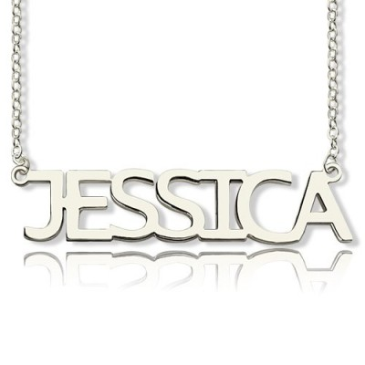 Solid Gold Block Letter Name Name Necklace - jessica