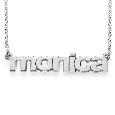Solid Gold Nameplate Necklace in Lowercase Font