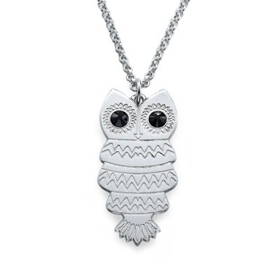 Solid Gold Owl Necklace with Back Engraving