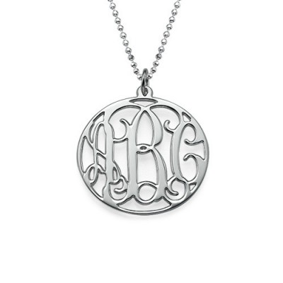Solid White Gold Circle Initials Necklace