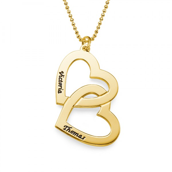18CT Personalised Gold Heart in Heart Necklace