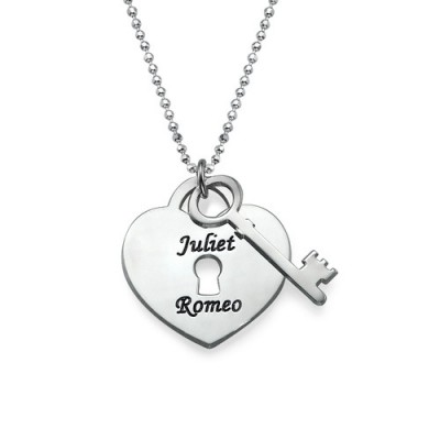Solid Gold Heart Lock with Key Pendant