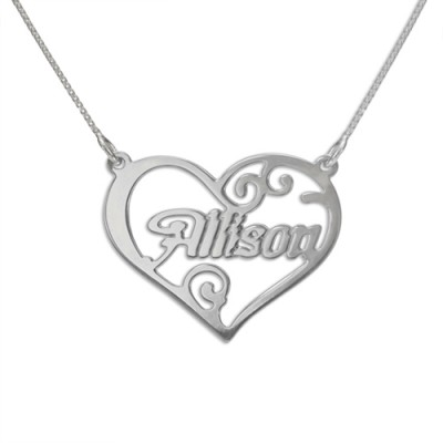 Solid Gold Heart Name Necklace