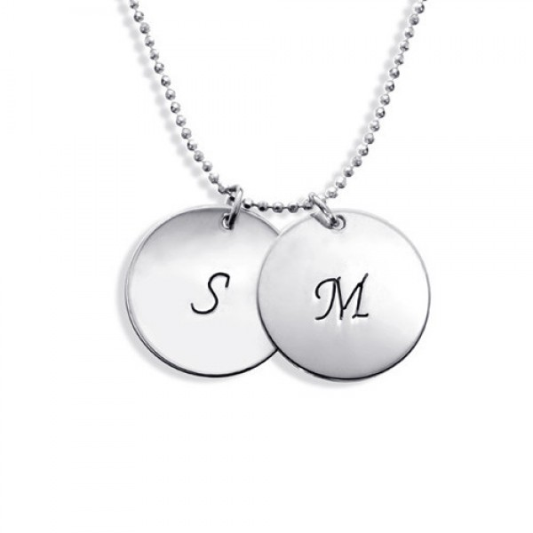 Personalised 18CT White Gold Disc Pendant Necklace