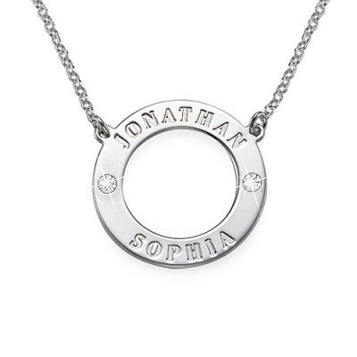 Solid Gold Karma Name Necklace with Swarovski