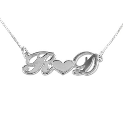 Solid White Gold Couples Heart Name Necklace