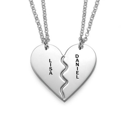 Solid White Gold Breakable Heart Name Necklace s