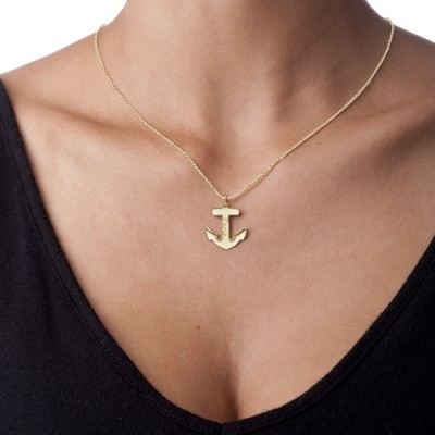 18CT Yellow Gold Anchor Necklace