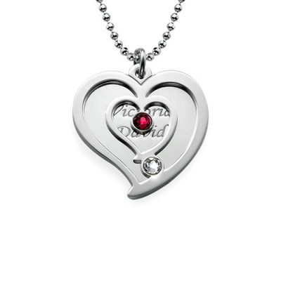 Solid White Gold Couples Birthstone Heart Necklace