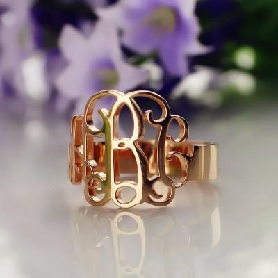 Personalised Rose Gold Monogram Ring