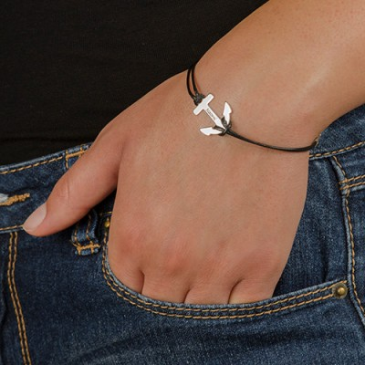 18CT White Gold Personalised Anchor Bracelet/Anklet
