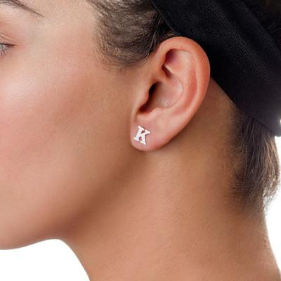 White Gold Print Initial Stud Earrings