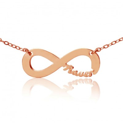 Rose Gold Infinity Necklace Cut Out Name
