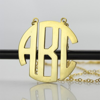 18CT Yellow Gold 2 Letters Capital Monogram Necklace