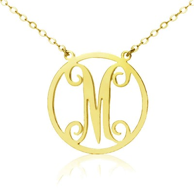 18CT Gold Single Monogram Letter Necklace