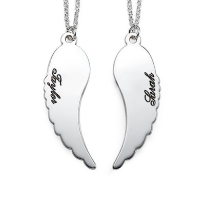 Set of Two 18CT White Gold Angel Wings Necklace