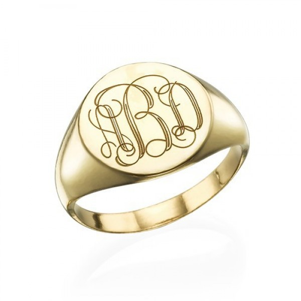 Signet Solid White Gold Ring with Engraved Monogram