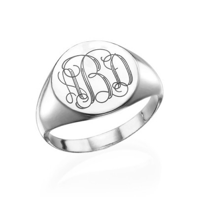 Signet Ring in 18CT White Gold with Engraved Monogram