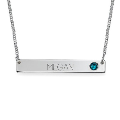 Solid White Gold Bar Name Necklace with Birthstone