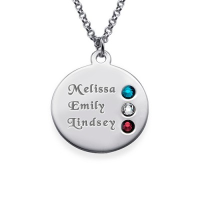 Solid White Gold Birthstone Name Necklace for Mum Inscriptions
