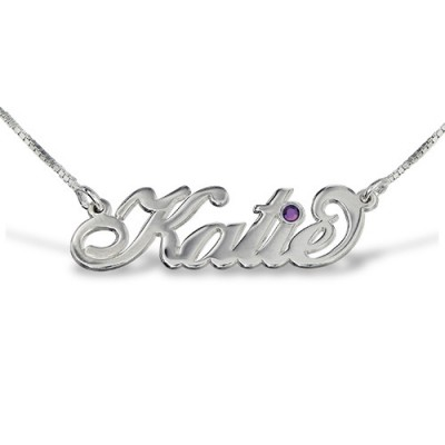 Solid Gold Carrie Style Swarovski Name Name Necklace