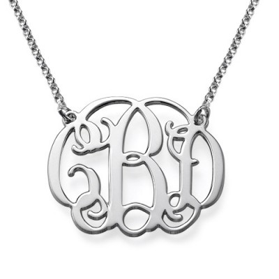 Solid White Gold Celebrity Style Monogram Name Necklace