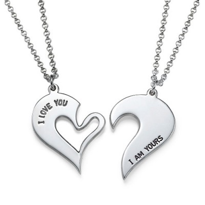 Solid White Gold Couples Breakable Heart Name Necklace