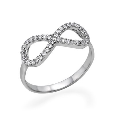 Cubic Zirconia Encrusted Infinity Solid White Gold Ring