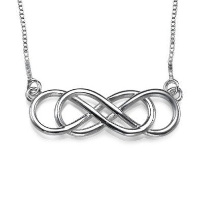 Solid White Gold Double Infinity Name Necklace