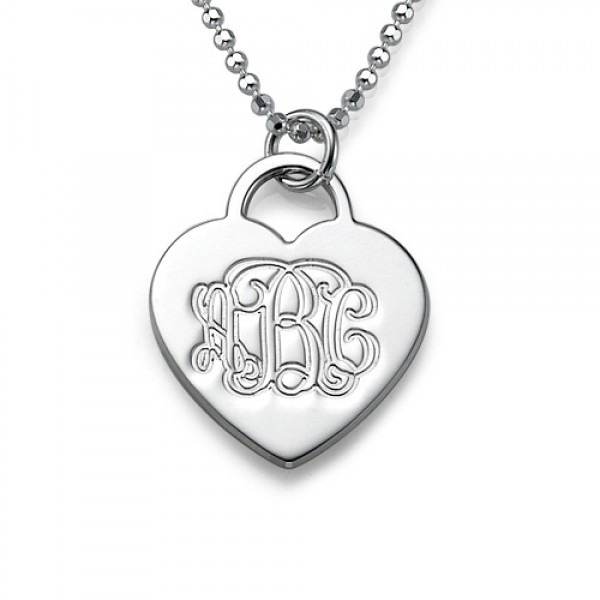 Solid Gold Engraved Monogram Initials Heart Pendant