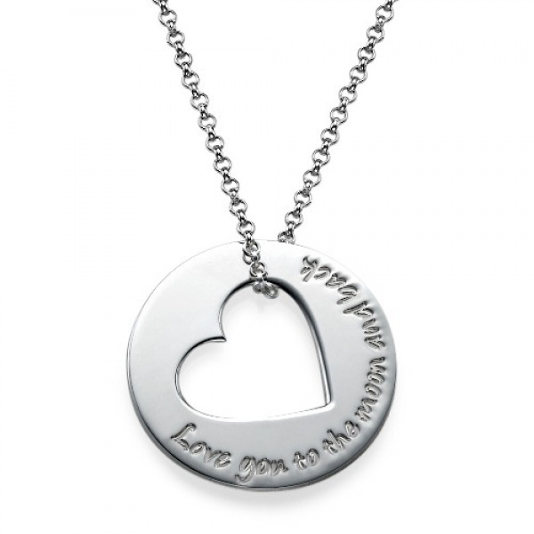 Solid Gold Engraved Name Necklace with Heart Cut Out