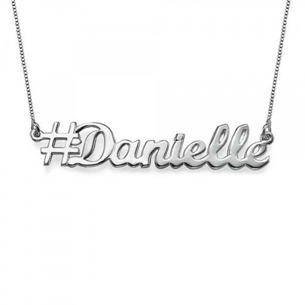 Solid Gold Hashtag Name Necklace