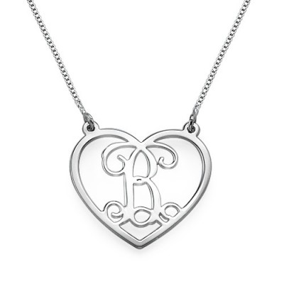 Solid Gold Heart Initials Name Necklace