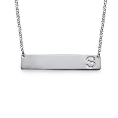 Solid Gold Horizontal Initial Bar Name Necklace