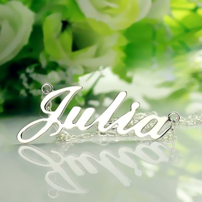 White Gold Personalised Classic Name Necklace