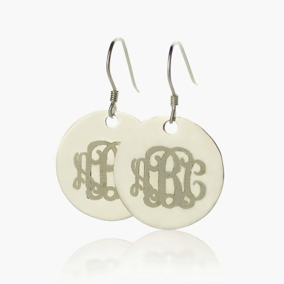 Solid Gold Disc Signet Monogrammed Earrings