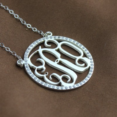 Solid White Gold Birthstone Circle Monogram Necklace
