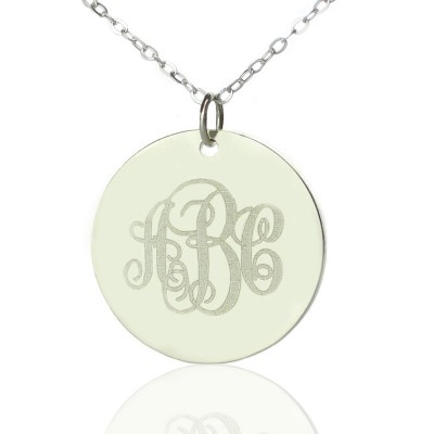Solid Gold Engraved Disc Monogram Necklace