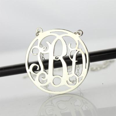 18CT White Gold Block Monogram Pendant Necklace