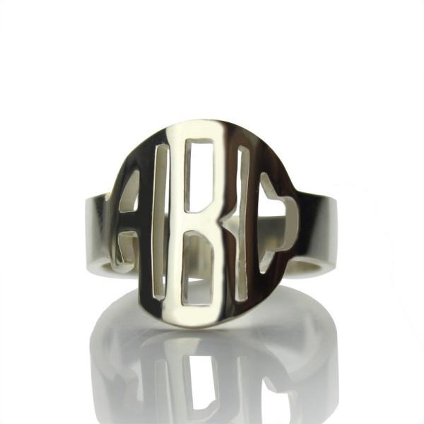 18CT White Gold Block Monogram Ring Gifts