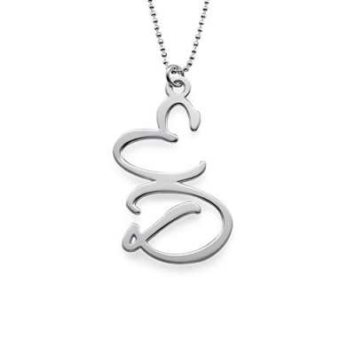 Solid Gold Two Initial Necklace