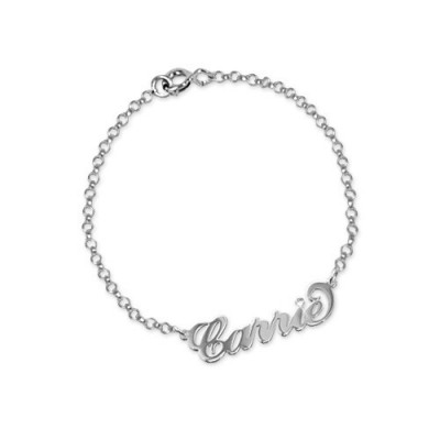 Solid White Gold Crystal Name Bracelet